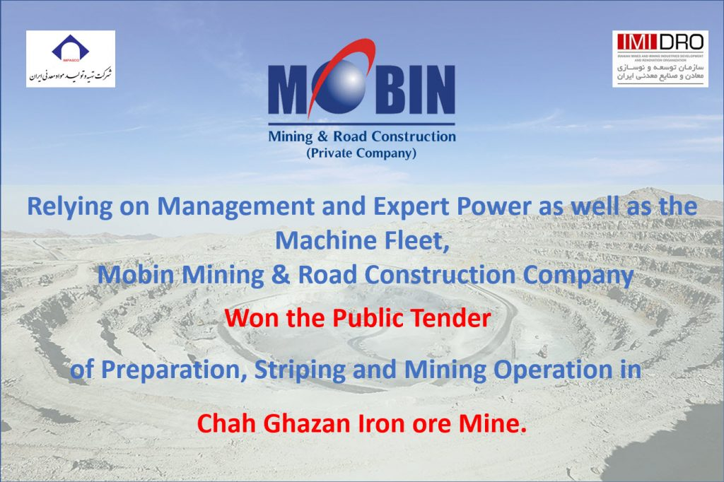 Mobin Mining & Road Construction Company won Chah Gaz Iron Ore tender